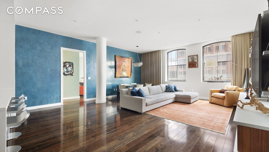 Welcome to this impeccably designed, 2 bedroom + internal 3rd bedroom/home office, 3 bath, 1,993 sqft condo loft home.  Located in the Tribeca North Historic District, 250 West is one of Tribeca's most sought after new luxury doorman buildings just steps from the Hudson River. This former 1906 warehouse was converted into luxury condominium apartments in 2012. This magnificent home has soaring ceilings, oversized arched windows, generous room proportions and custom millwork throughout from Silverstein Interiors. The beautiful open chef's kitchen features top-of-the-line appliances, custom Poggenpohl cabinetry, custom extra-large island, an integrated Subzero refrigerator, Bosch stove, range and dishwasher making this kitchen not only ideal for entertaining but also incredibly functional as well. The large master suite includes a master bath with double sinks, a soaking tub, and a separate glass enclosed shower.  No expense was spared for the oversized walk-in master dressing room with beautifully built-out wood closets with a separate vanity or workspace.  The generously sized 2nd bedroom has an en-suite bath and abundant storage while an internal 3rd bedroom/home office offers additional flexibility. This smart home is wired with the state-of-the-art Crestron technology that controls music, lighting, TV and climate with speakers throughout.  The apartment also has individually controlled HVAC cooling and heating systems, 5-inch plank oak hardwood floors and Bosch washer and dryer.  This home has been meticulously maintained. 250 West is an incredible development with 24-hour doormen and concierge, full-time live-in super, state-of-the-art fitness center, 61-ft swimming pool, saunas, children's playroom, large common 5000 sqft roof terrace with panoramic views, sundeck, resident lounge, courtyard, bike room, cold storage, and is pet friendly.  Best of all, it is centrally located in the heart of Tribeca's landmark historic district, conveniently situated by all majo