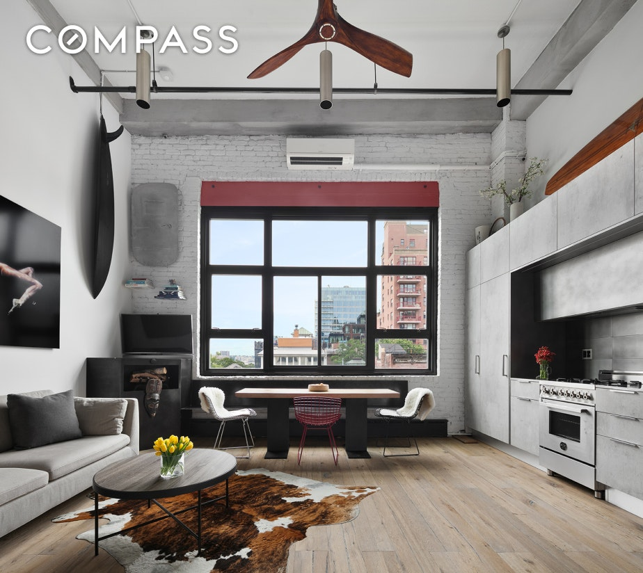 Experience exceptional loft living in the West Village.Located on a quaint and quiet block is a stunning and spacious, meticulously gut renovated bespoke home featuring soaring beamed ceilings in a double height great room, iconic city and water views, tons of natural light, incredible sunsets, exposed brick, hardwood floors, and central AC.  Every inch of this home has been painstakingly crafted with impeccable taste.Enter through a gracious foyer which opens up into the double height great room. The open chef's kitchen is outfitted with custom cabinetry by Aster Cucine, top of the line stainless steel appliances by Miele and Bertazzoni and has an abundance of storage. A 100 year old Dutch door takes you into the charming second bedroom located on the first floor. A striking custom designed floating metal staircase leads to the second floor which includes a spa-like bathroom equipped with a steam shower. The peaceful and serene master bedroom overlooks the interior courtyard and features large walk-in closets. Across from the master bedroom is a mezzanine that overlooks the living space and makes for a perfect home office.Other highlights include a large storage room, LG washer and dryer and Lutron system for shades and lights.130 Barrow Street is an award winning Condo in the highly sought after West Village. The location provides immediate access to The Hudson River Park and bike paths as well as The Highline Park, Meatpacking District, The Whitney Museum, Bleecker Street, and some of downtown's best shopping and restaurants. The building features a live-in superintendent, daily porter, glass-windowed elevators, garden courtyard & roof deck with panoramic views.This home is also available for sale.