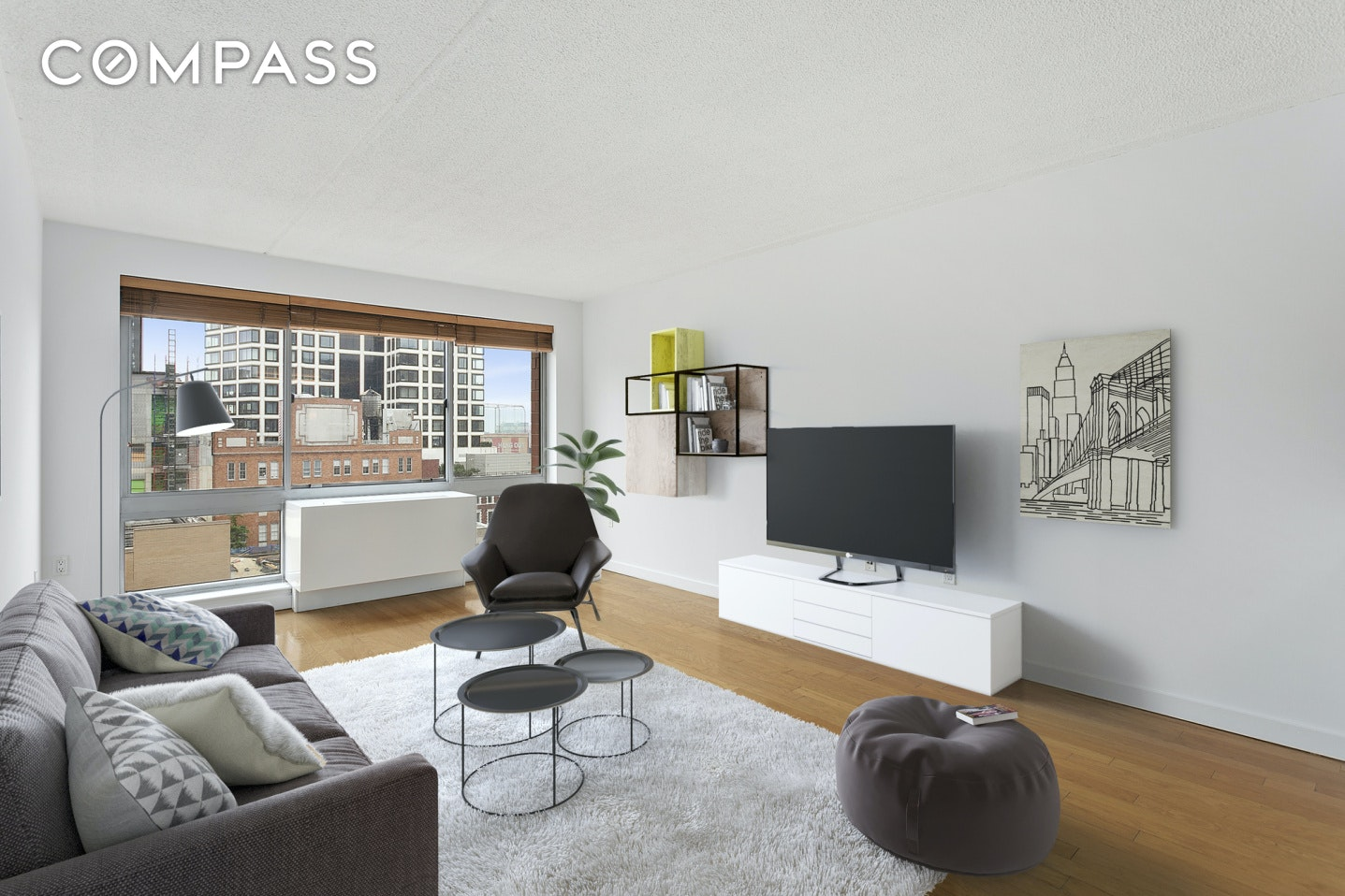 A sun-filled and immaculate one-bedroom home on a high floor in a full service, luxury condominium in West Chelsea. Upon entry, you will immediately notice light pouring through the south-facing living room windows that frame layered city views. A large, open kitchen is equipped with granite countertops, stainless steel appliances, a plethora of dark wood cabinetry, and a breakfast bar with ample room for seating. The spacious bedroom can easily accommodate a king-sized bed and features a closet with a built-in safe.  Gleaming hardwood floors, freshly painted walls, and HVAC units are throughout, and the LG stackable washer/dryer with a steam function to eliminate wrinkles (saving money on dry cleaning bills) is an amazing convenience. 555 West 23rd Street is filled with amenities including a gorgeous new lobby, an enormous and pristine fitness center loaded with a wide range of equipment including a pilates reformer, a 9,000 square foot planted and furnished courtyard with beautiful fountains and reflecting pool, a lounge that is about to be completely redone, garage, and bicycle storage. With the Highline, Hudson River Park, Chelsea Piers, Hudson Yards, the art galleries of West Chelsea, and some of New York City's finest restaurants and hottest nightspots practically at your doorstep, this unbelievable locations offers the perfect blend of lifestyle and convenience.